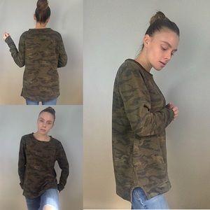 Tops - Distressed Camo Sweatshirt